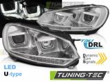 Přední světla VW Golf 6 08-12 Led DRL chrom SEQ