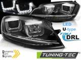 Přední světla VW Golf 7 11/12-17 Led DRL černá  SEQ