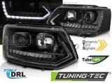 Přední světla VW T5 2010-15 TUBE DRL černá SEQ