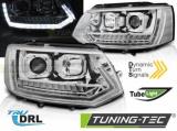 Přední světla VW T5 2010-15 TUBE DRL chrom SEQ