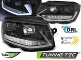 Přední světla VW T6 15-19 TUBE DRL černá/chrom SEQ