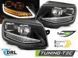 kopie Přední světla VW T6 15-19 TUBE DRL černá SEQ