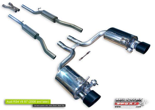 Milltek Sport Catback výfuk Milltek Audi RS4 B7 4.2 V8 Sedan/Avant/Cabriolet (06-) - verze bez rezonátorů včetně výfuk. klapek - koncovky Satin Sheen Black Tip