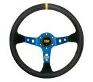 Volant OMP Corsica 350mm - černý/modrý - semiš