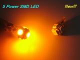 LED parkovací světla 5x Power SMD 168 / 194 / T10 / W5W oranžová