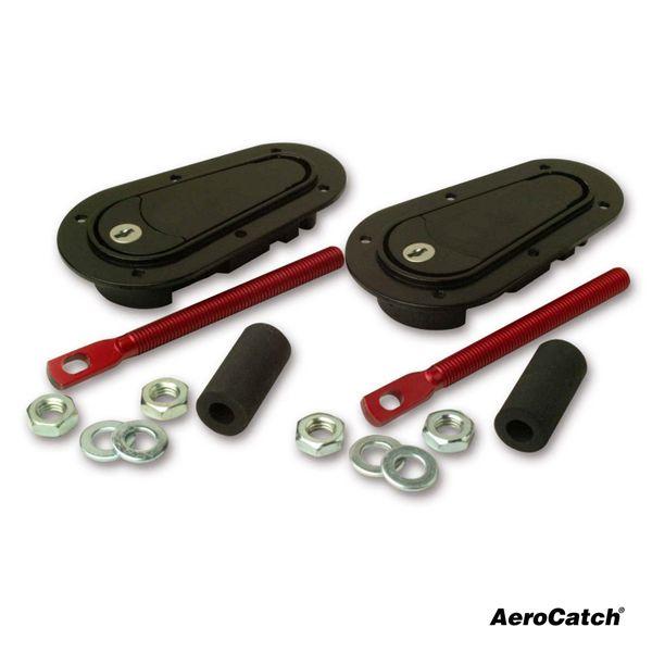 Zámky / držáky kapoty Aerocatch uzamykatelné (spodní uchycení) - černé