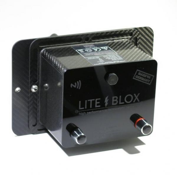 Karbonový držák autobaterie Liteblox pro Nissan GT-R R35 (07-17)