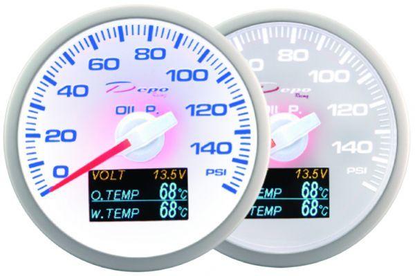 Přídavný budík Depo Racing WBL 4in1 - tlak oleje, voltmetr, teplota oleje, teplota vody