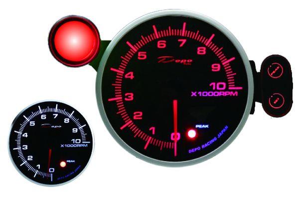 Přídavný budík Depo Racing 115mm - otáčkoměr se shift lightem - benzínové motory