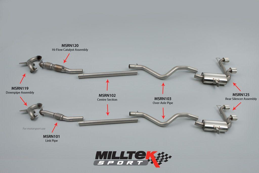 Milltek Sport Turboback výfuk Milltek Renault Megane RS 225 2.0T (04-09) - závodní verze