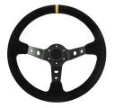 Sportovní volant SW018 - 350mm semiš / 90mm - černý/černý