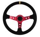 Sportovní volant SW018 - 350mm semiš / 90mm - černý/červený