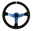 Sportovní volant SW018 - 350mm semiš / 90mm - černý/modrý