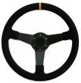 Sportovní volant SW020 - 350mm semiš / 90mm - černý/černý