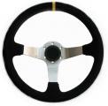 Sportovní volant SW020 - 350mm semiš / 90mm - černý/stříbrný