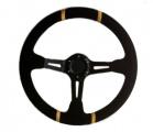 Sportovní volant SW220 - 350mm semiš / 90mm - černý/černý