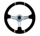 Sportovní volant SW220 - 350mm semiš / 90mm - černý/stříbrný