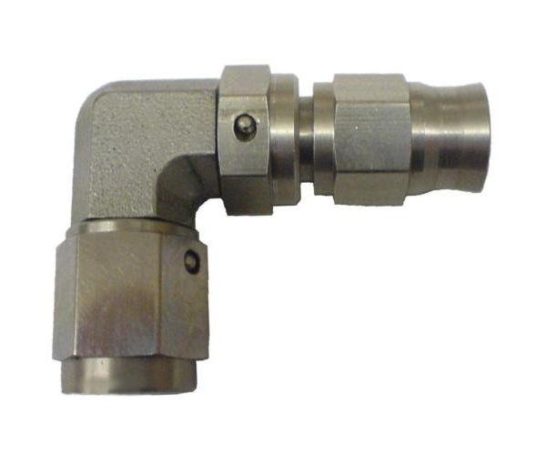 Zakončovací adaptér koleno 90° M10 x 1,0 na hadici D-03 (AN3) - samice - nerezový Torques