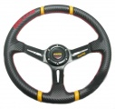 Sportovní volant SW402 - 350mm semiš / 90mm - karbon look/černý