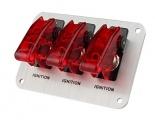 Startovací panel hliníkový - 3x přepínač kill switch